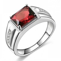 Fashion Jewelry  Mens 18K White Gold Plated Garnet Red CZ Wedding Ring S... - $6.99