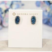 Kendra Scott Ellie Cobalt Blue Drusy Statement Stud Earrings NWT - $63.86