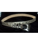 $200+ STREETS AHEAD Engraved Silver Floral Rose Metal Belt Small - $49.95