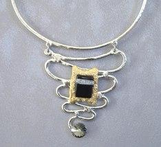 Chunky Black Smoke Crystal Necklace Gold Silver Unique Semi Precious Stone - $315.00