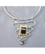 Chunky Black Smoke Crystal Necklace Gold Silver Unique Semi Precious Stone - €265,53 EUR