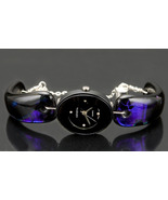 Purple Black Watch Abstract Dichroic Fused Glas... - $250.00