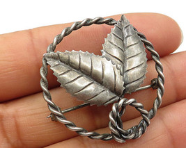 925 Sterling Silver - Vintage Foliage Ring Detail Brooch Pin - BP1928 - $36.71