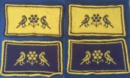 Vtg Handmade Crochet Placemats Birds Flowers Seventies Style Yellow Brown - $16.82