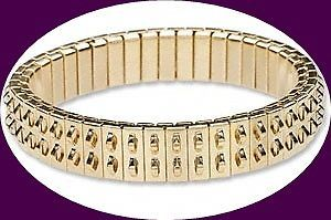 2 Gold Plated Stainless Steel Expansion Bracelets 2-row Loops Cha-cha expansion