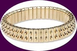 2 Gold Plated Stainless Steel Expansion Bracelets 2-row Loops Cha-cha expansion image 2