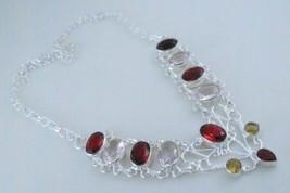 Garnet-Pink Amethyst-Citrine Silver Overlay Jewelry Necklace 31 Gr. F-446-44/86 - $16.56