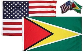 ALBATROS USA with Guyana Country 2 ft x 3 ft 2x3 Flag with Lapel Pin for... - $30.78