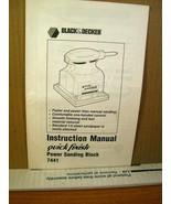 Instruction Manual Black & Decker Power Sanding Block 7441 Form 741816 - $8.99