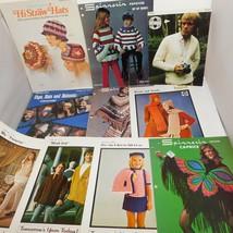 Lot of vintage Knitting & Crochet Patterns Retro Clothing Hats Ponchos - $13.50