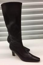 $700 Salvatore Ferragamo Women's Mid High Boots Heels Brown Calf Leather... - $149.30