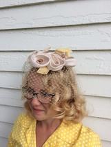 50s Floral Veil Whimsy Hat Neutral Net Formal Bridal Vintage - $39.00