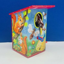Tin Toy vintage hummingbird house wind up squirrels bumblebee bees hive ... - $28.89