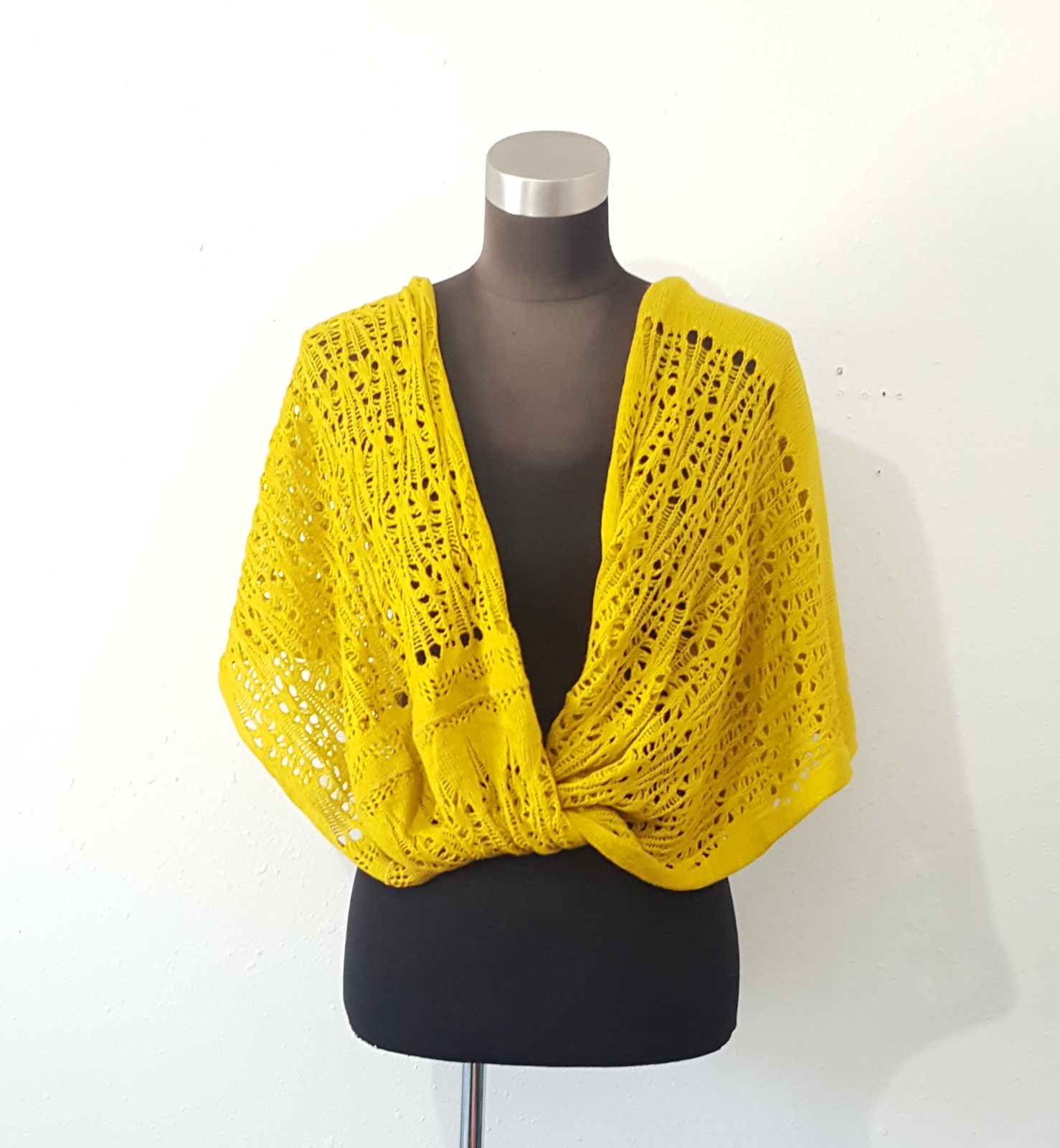 Primary image for Twisted Crochet Infinity Scarf Shoulder Wrap Ruana Mustard Yellow One Size