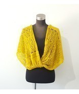 Twisted Crochet Infinity Scarf Shoulder Wrap Ruana Mustard Yellow One Size  - $26.09 CAD