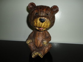 Bear Bobblehead Heavy Solid Wood Statue Hand Carved 7 inch RARE - $54.92
