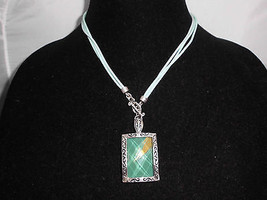 VTG Silver Tone 1980's Styled Green Gold Plastic & Metal Necklace Earrin... - $12.38