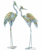 "Set of 2 - 40.5"" Blue Heron Bird Design Garden Statues Metal Freestanding"