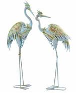 """Set of 2 - 40.5"""" Blue Heron Bird Design Garden Statues Metal Freestandin... - $237.59"""