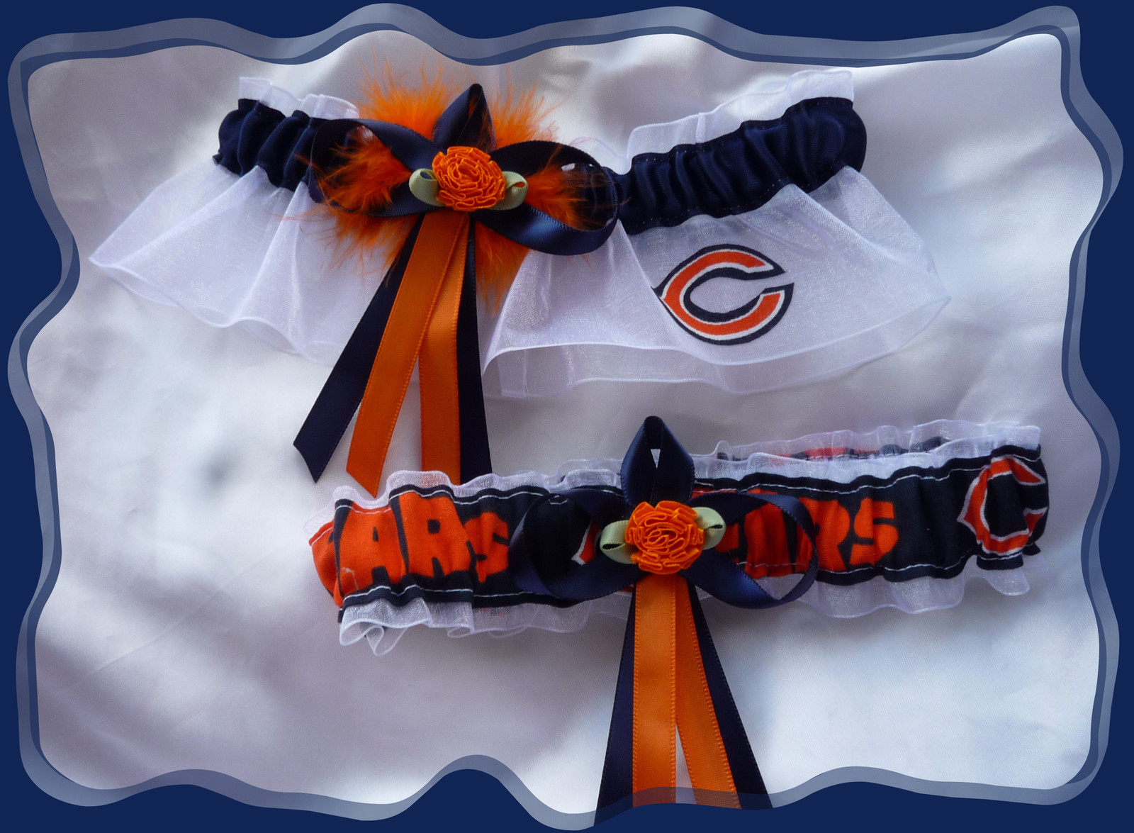 Primary image for Chicago Bears White Organza Wedding Garter Flower Set OB
