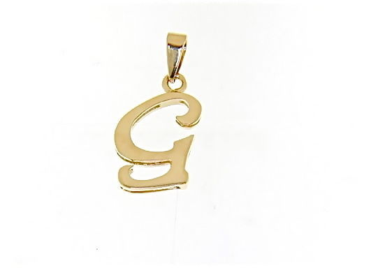 18K YELLOW GOLD LUSTER PENDANT WITH INITIAL G LETTER G MADE IN ITALY 0.71 INCHES