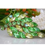 Vintage Leaf Brooch Pin Green Yellow Marquise Rhinestones Book Piece - £45.56 GBP