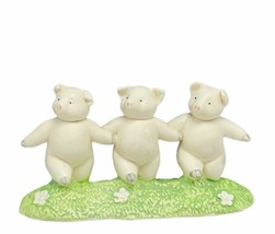Department 56 three 3 pigs figurine piglets dancing 1997 vtg oink hog sc... - $23.03