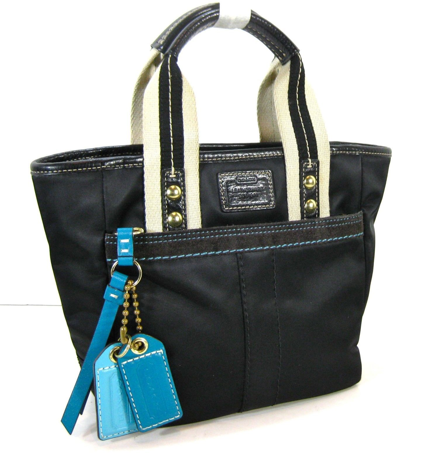 COACH Authentic Black w/ Blue Accents Sateen Leather Tote Handbag Purse A06M-126