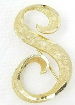 Vintage Gold Color Broad Stroke Strong Textured Letter S Brooch Pin - $12.82