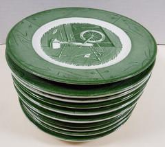 VTG Royal China Colonial Homestead green set of 11 plates dessert / bread butter - $39.60