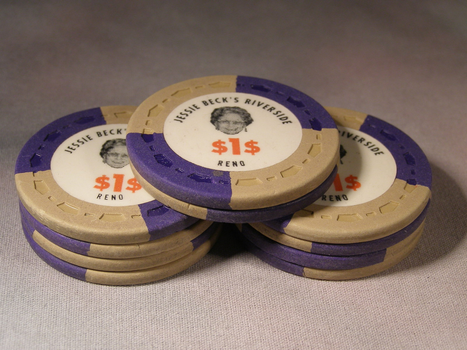 Primary image for Ten $1.00 Casino Chips From: Jessie Beck's Riverside Hotel & Casino - (sku#2094)