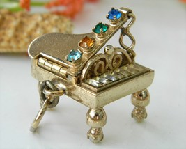 Vintage Grand Piano Charm Pendant Mechanical Rhinestones 3D - $49.95