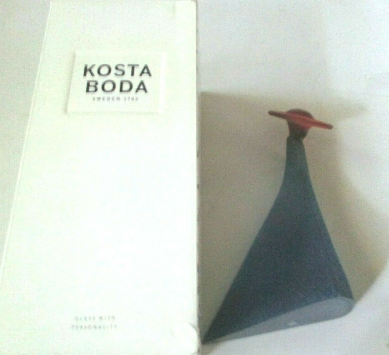 "Primary image for Kjell Engman for Kosta Boda 7.5"" Catwalk Madame Lady in Blue Dress Red Hat MIB"