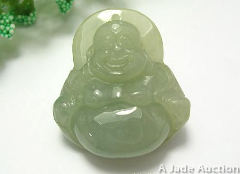 HEALTH LUCK GREEN BLESSING BUDDHA JADEITE JADE NECKLACE Bonanza