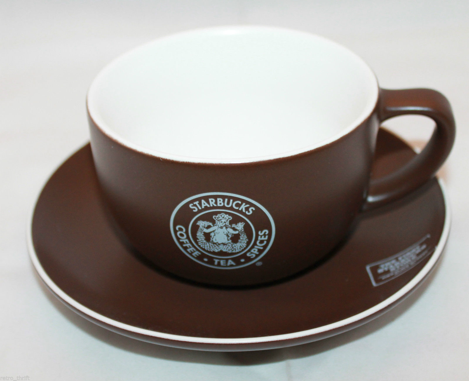 Primary image for 2008 Starbucks Coffee Pike Place Market Brown  Mug Cup Saucer Set  AS-IS