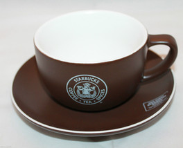 2008 Starbucks Coffee Pike Place Market Brown  Mug Cup Saucer Set  AS-IS - $32.87