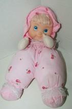 Plush soft cloth doll Vinyl face floral pink outfit bonnet lace USED De ... - $13.36