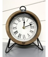 Table Clock Round Wooden Frame Black Metal Stand Roman Numerals Analog - $74.99