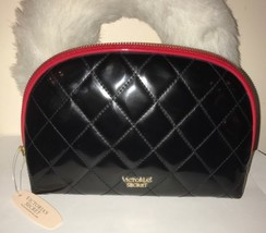 VICTORIA'S SECRET BLACK QUILTED  MAKEUP COSMETIC CASE TRAVEL LARGE NWT - $24.96