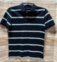 Gap Kids Navy Blue with Teal Turquoise Stripe Casual Polo Shirt Size M - $6.93