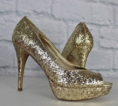 Guess women's stiletto peep toe animal gold frosty pumps size 8.5 M - $21.18