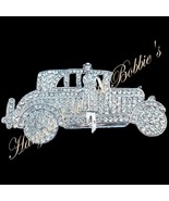 Limousine Chauffeur Car Pin Brooch Clear Crystal Silvertone Fashion Jewelry - $29.99