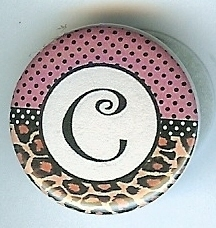 "Primary image for ""C""Pink&Lepard Monogram Button-Interchangeable Magnetic Jewlry/Bottle Cap Insert"