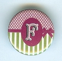 "Primary image for ""F"" Pink&Grn Monogram Button-Interchangeable Magnetic Jewelry/Bottle Cap Insert"