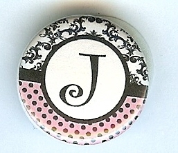 "Primary image for ""J""Pink&Toile Monogram Button-Interchangeable Magnetic Jewelry/Bottle Cap Insert"