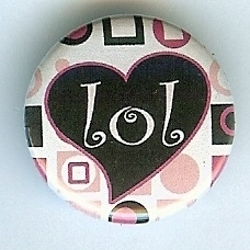 "Primary image for ""LOL"" Pink & Blk Heart Button-Interchangeable Magnetic Jewelry/Bottle Cap Insert"