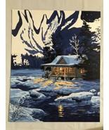Dimensions Paint Works Paint By Number Kit. 20x16. Moonlit Cabin. Near C... - $13.54