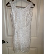 Signature 8 Womens Sz S Lace Dress Solid White Sleeveless Form Fit V Back - $24.72