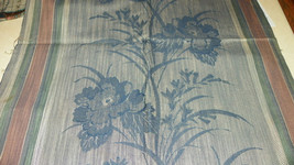 Blue Mauve Green Stripe Print Damask Upholstery Fabric  1 Yard - $19.95