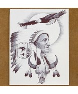 Navajo Soaring Eagle Indian Chief Ink Drawing P... - $49.97